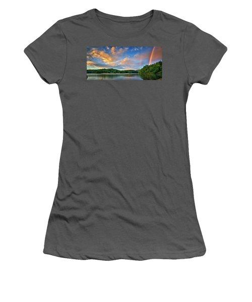 Rainbow At Linville Land Harbor Women's T-Shirt (Junior Cut) by Steve Hurt
