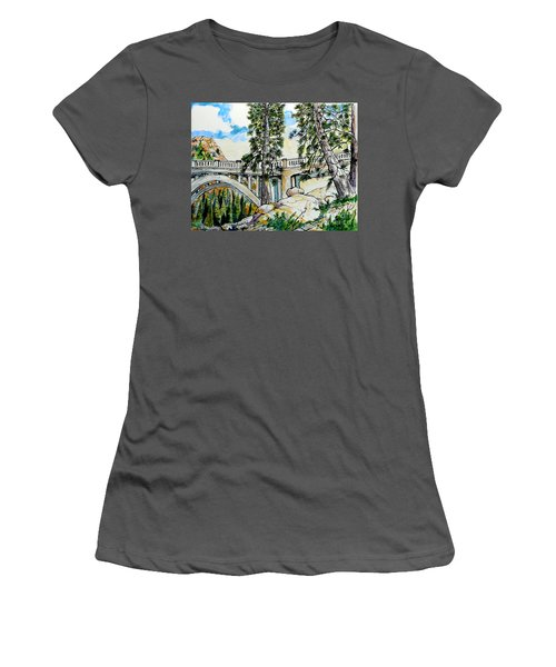 Women's T-Shirt (Junior Cut) featuring the painting Rainbow Bridge At Donner Summit by Terry Banderas
