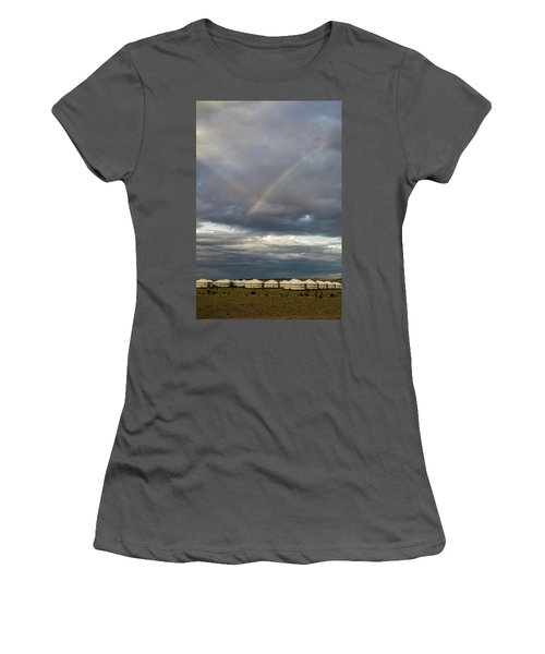 Women's T-Shirt (Athletic Fit) featuring the photograph Rainbow Over Ger Camp, Gobi, 2016 by Hitendra SINKAR