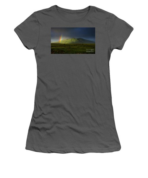 Rainbow Over Mount Ara After Storm, Armenia Women's T-Shirt (Junior Cut) by Gurgen Bakhshetsyan