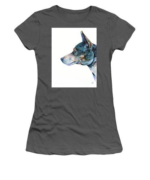 Women's T-Shirt (Athletic Fit) featuring the painting Rat Terrier by Zaira Dzhaubaeva