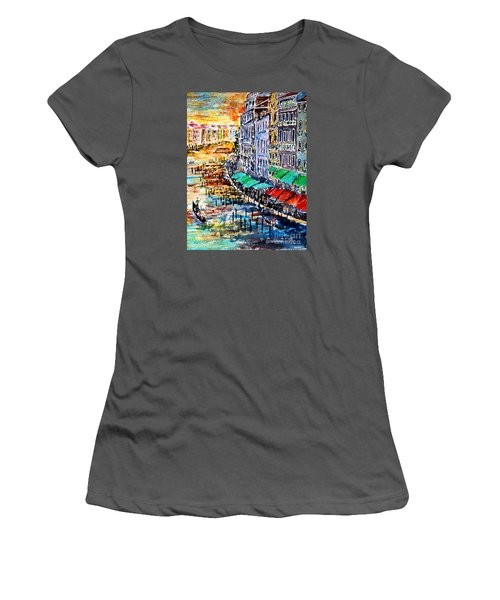Women's T-Shirt (Junior Cut) featuring the painting Recalling Venice 03 by Alfred Motzer