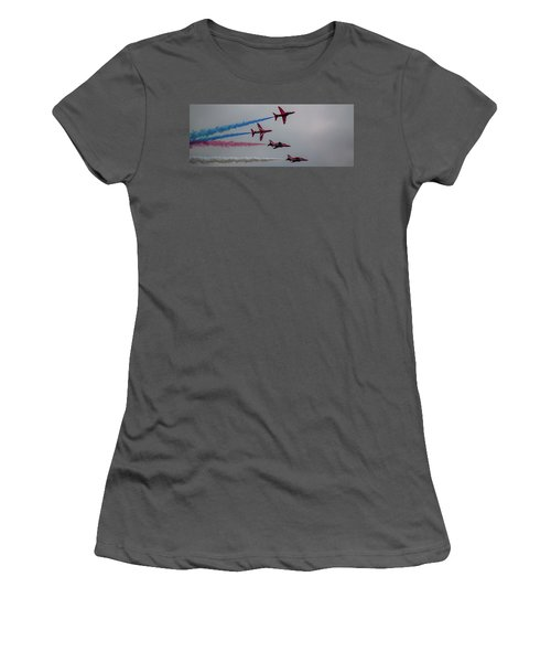 Women's T-Shirt (Athletic Fit) featuring the photograph Red Arrows Break Off - Teesside Airshow 2016 by Scott Lyons