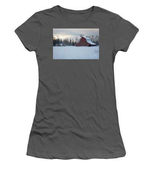 Red Barn At Dawn Women's T-Shirt (Athletic Fit)