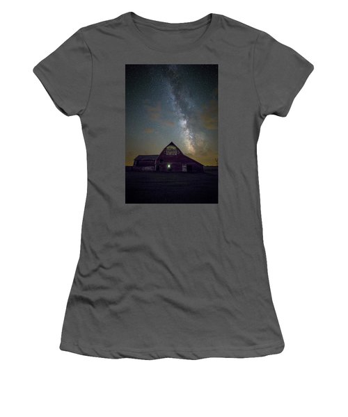 Women's T-Shirt (Athletic Fit) featuring the photograph Red Barn Galaxy  by Aaron J Groen