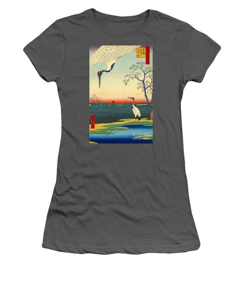 Red Crowned Cranes 1857 Women's T-Shirt (Junior Cut) by Padre Art