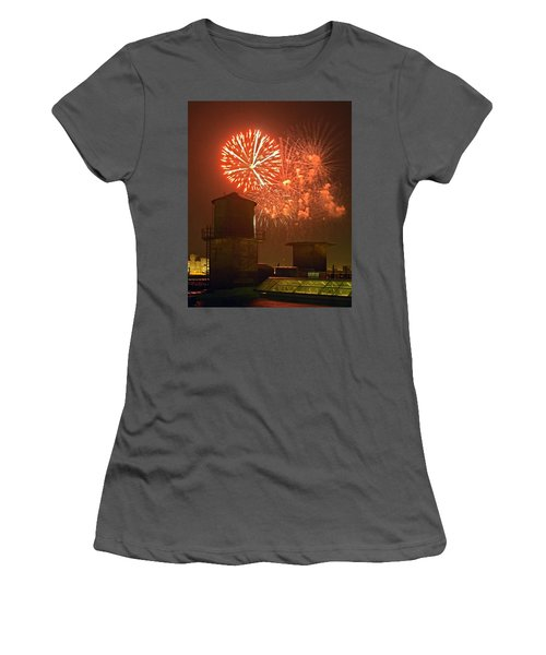 Red Fireworks Women's T-Shirt (Athletic Fit)
