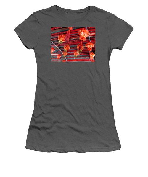 Women's T-Shirt (Junior Cut) featuring the photograph Red Lanterns 2 by Randall Weidner