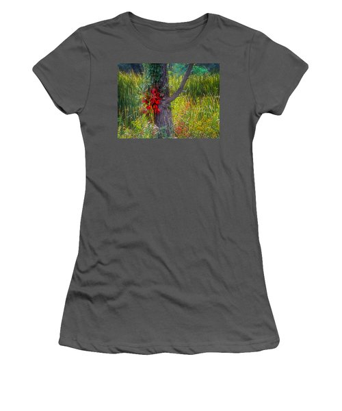 Red Leaves And Vines On Tree In Forest Of Reeds Women's T-Shirt (Junior Cut) by John Brink