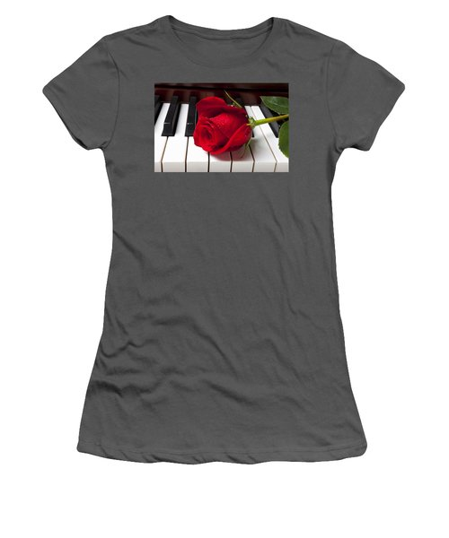 Red Rose On Piano Keys Women's T-Shirt (Athletic Fit)