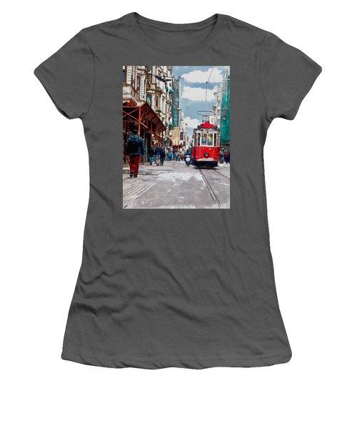 Women's T-Shirt (Junior Cut) featuring the digital art Red Tram by Kai Saarto