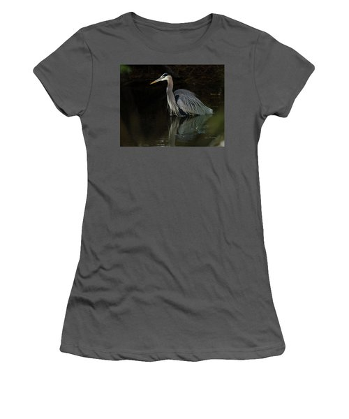 Reflection Of A Heron Women's T-Shirt (Junior Cut) by George Randy Bass