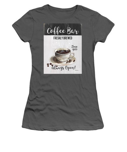 Women's T-Shirt (Junior Cut) featuring the painting Retro Coffee Shop 2 by Debbie DeWitt