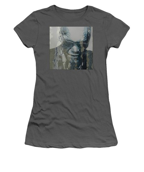 Women's T-Shirt (Junior Cut) featuring the mixed media Retro / Ray Charles  by Paul Lovering