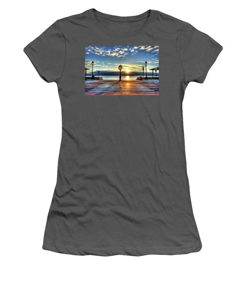 Revere Beach Clock At Sunrise Angled Long Shadow Revere Ma Women's T-Shirt (Athletic Fit)