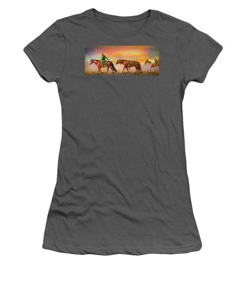 Riding The Surf Women's T-Shirt (Junior Cut) by Kari Nanstad