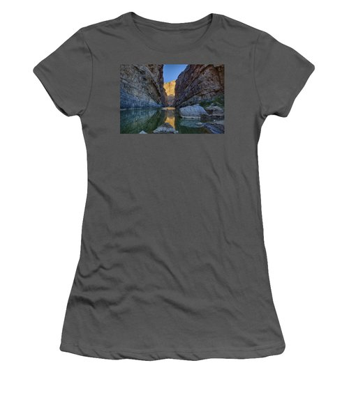 Women's T-Shirt (Junior Cut) featuring the tapestry - textile Rio Grand - Big Bend by Kathy Adams Clark