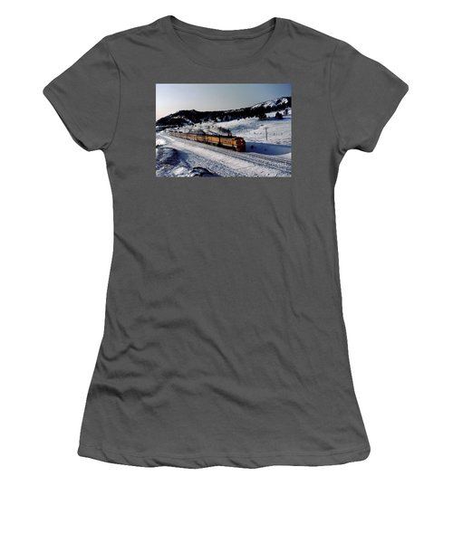 Rio Grande Zephyr Trainset In The Snow, Plainview Colorado, 1983 Women's T-Shirt (Athletic Fit)