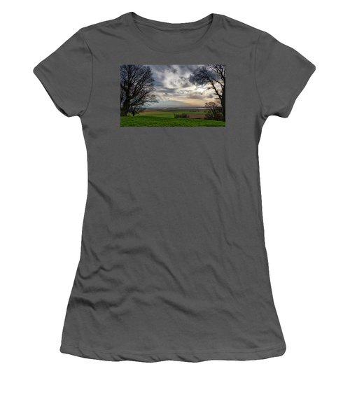 Women's T-Shirt (Athletic Fit) featuring the photograph River Forth View From Clackmannan Tower by Jeremy Lavender Photography