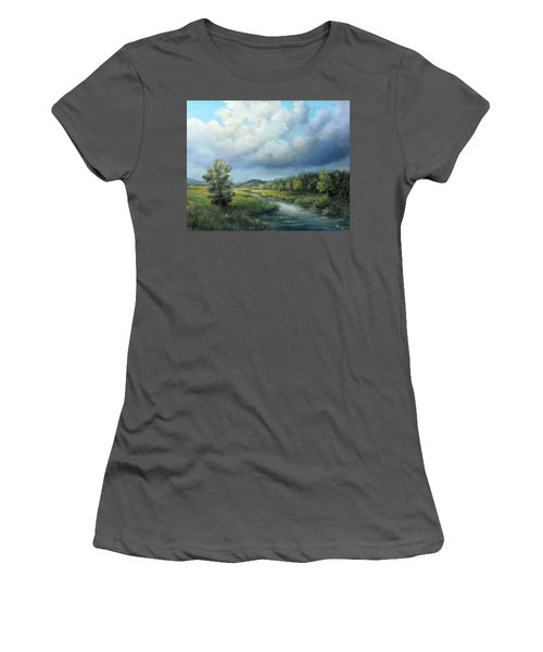 River Landscape Spring After The Rain Women's T-Shirt (Athletic Fit)