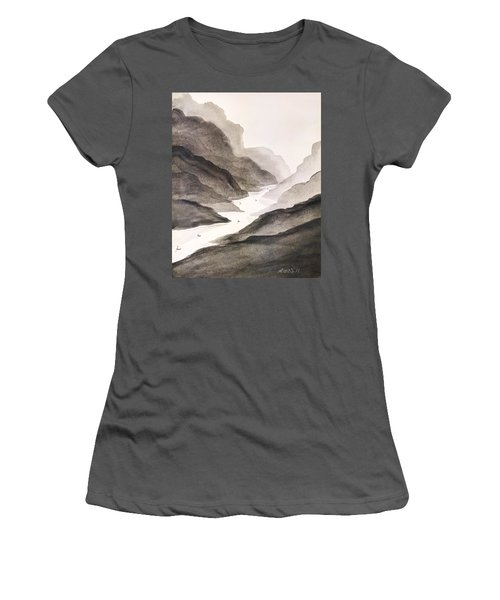 River Running Through Mountains Women's T-Shirt (Athletic Fit)