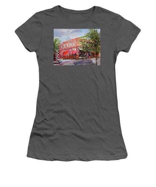 Women's T-Shirt (Athletic Fit) featuring the painting River Street Tavern-ellijay, Ga - Cheers by Jan Dappen