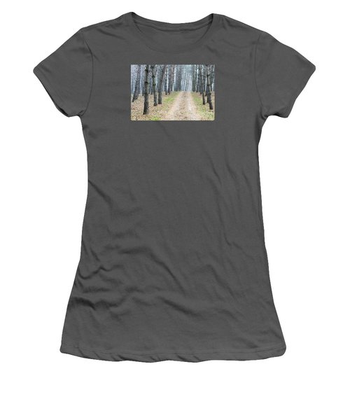 Road To Pine Forest Women's T-Shirt (Junior Cut) by Odon Czintos