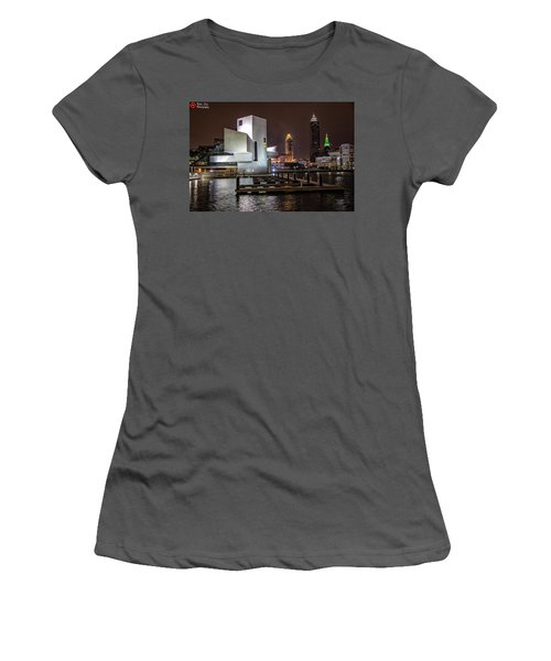Women's T-Shirt (Junior Cut) featuring the photograph Rock Hall Of Fame And Cleveland Skyline by Peter Ciro