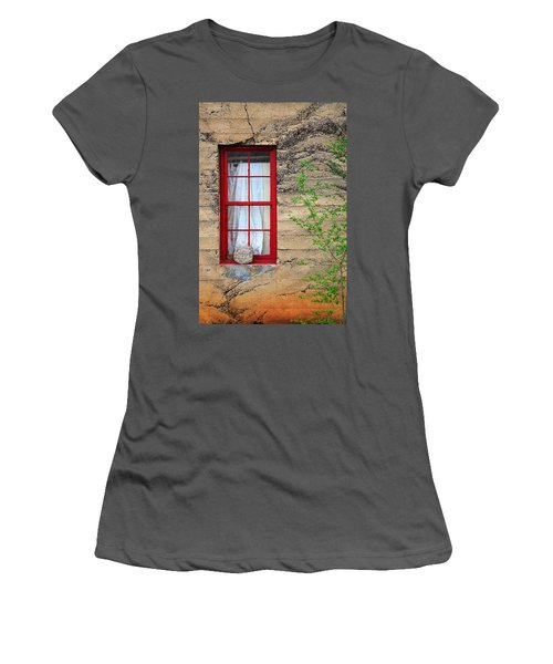 Women's T-Shirt (Junior Cut) featuring the photograph Rock On A Red Window by James Eddy