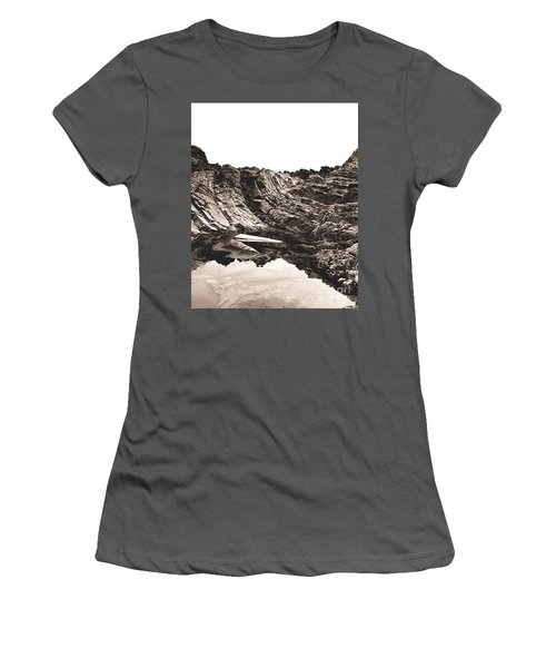 Women's T-Shirt (Athletic Fit) featuring the photograph Rock - Sepia Detail by Rebecca Harman