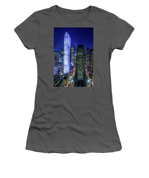 Women's T-Shirt (Junior Cut) featuring the photograph Rockefeller At Night by M G Whittingham