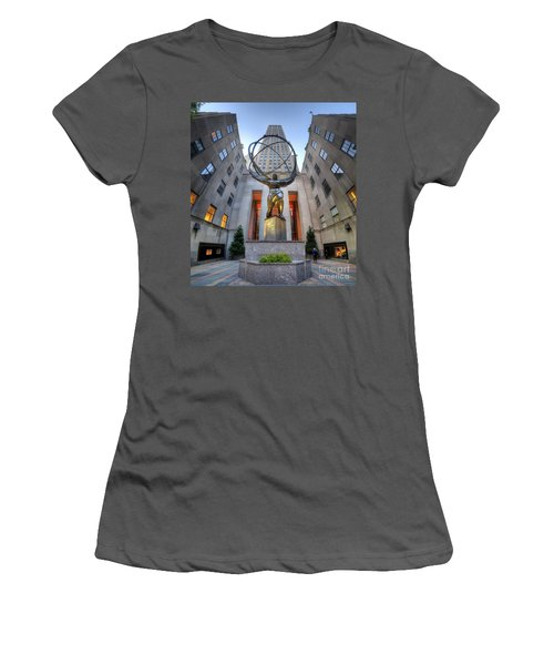 Rockefeller Centre Atlas - Nyc - Vertorama Women's T-Shirt (Athletic Fit)