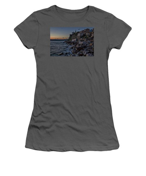 Women's T-Shirt (Athletic Fit) featuring the photograph Rocky Coast At Dawn - Piran - Slovenia by Stuart Litoff
