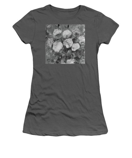 Women's T-Shirt (Athletic Fit) featuring the painting Romantic Large Roses  by Robin Maria Pedrero