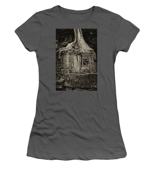 Women's T-Shirt (Junior Cut) featuring the photograph Roots In Ruins 5, Ta Prohm, 2014 by Hitendra SINKAR