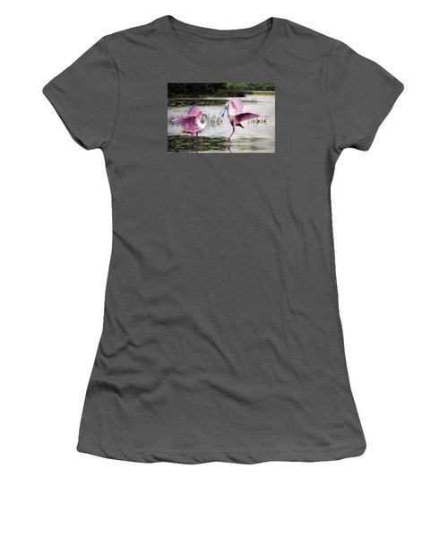 Women's T-Shirt (Junior Cut) featuring the photograph Roseate Spoonbills Sparring. by Brian Tarr