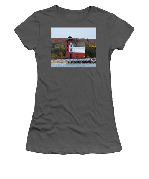 Round Island Lighthouse In October Women's T-Shirt (Junior Cut) by Keith Stokes