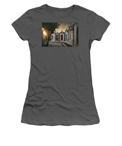 Women's T-Shirt (Junior Cut) featuring the photograph Row Of Crypts by Carlos Caetano