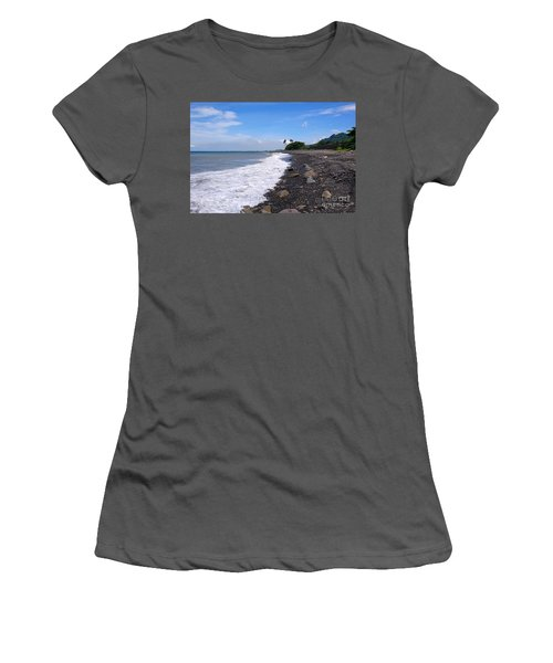 Women's T-Shirt (Athletic Fit) featuring the photograph Rugged Coastline In Taiwan by Yali Shi
