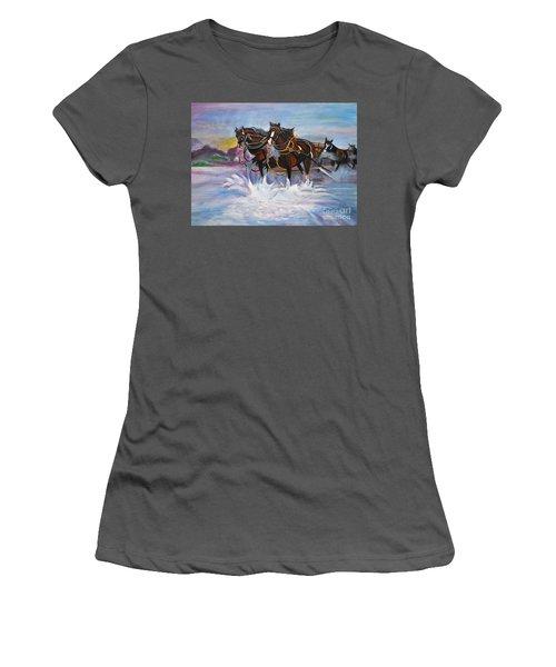 Running Horses- Beach Gallop Women's T-Shirt (Junior Cut)
