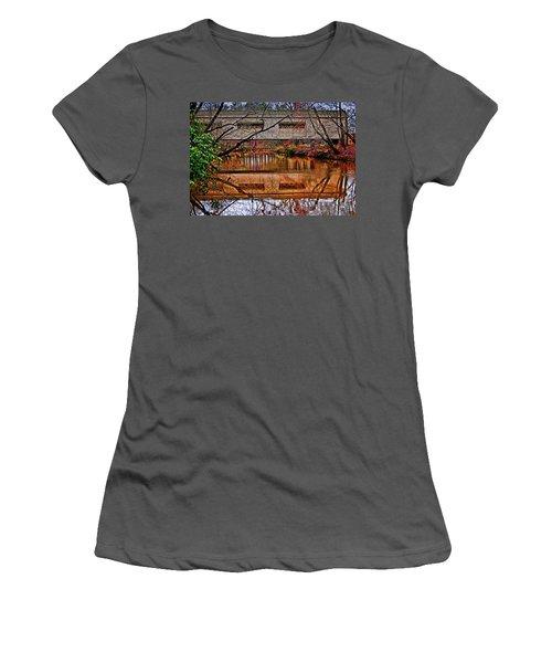 Running Waters Covered Bridge 025 Women's T-Shirt (Junior Cut) by George Bostian