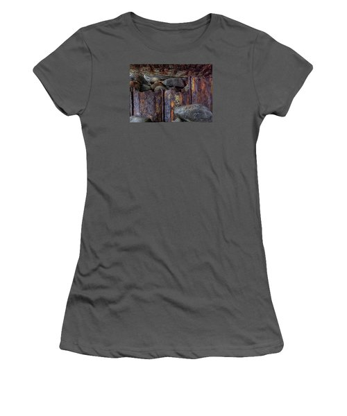 Women's T-Shirt (Junior Cut) featuring the photograph Rusted Stones 3 by Steve Siri