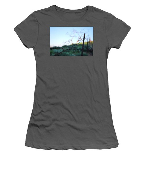 Women's T-Shirt (Athletic Fit) featuring the photograph Rusty Gate Rural Tree 2 by Matt Harang