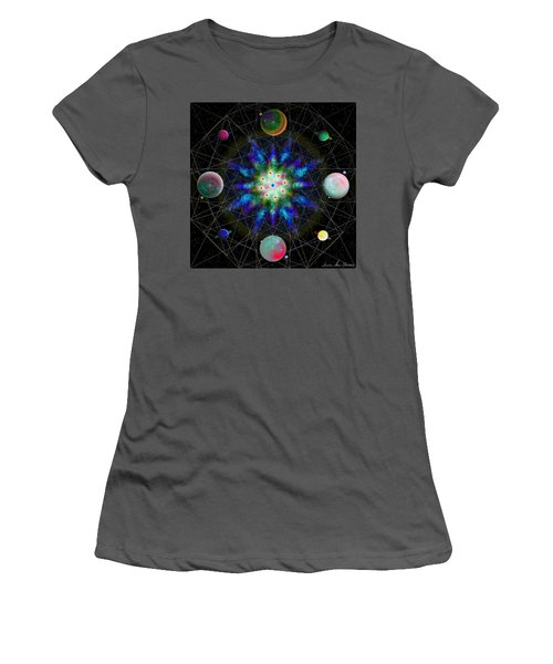 Women's T-Shirt (Athletic Fit) featuring the digital art Sacred Planetary Geometry - Blue Atom Dark by Iowan Stone-Flowers