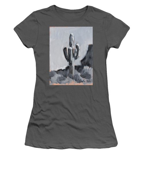 Women's T-Shirt (Junior Cut) featuring the painting Saguaro Plein Air Study by Diane McClary