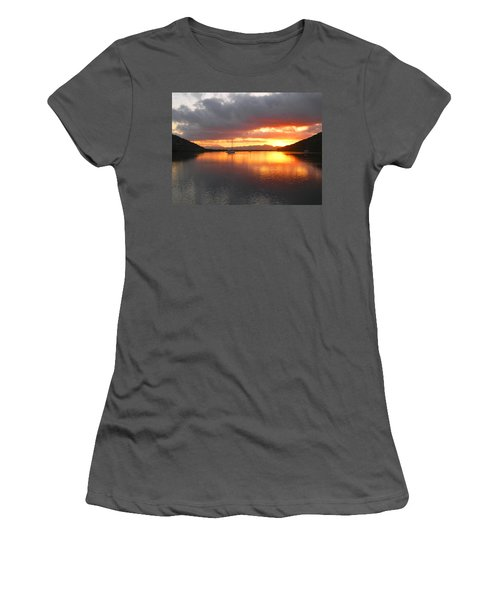 Sailboats At Sunrise In Puerto Escondido Women's T-Shirt (Junior Cut) by Anne Mott