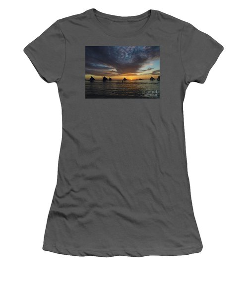 Sailing Boats At Sunset Boracay Tropical Island Philippines Women's T-Shirt (Athletic Fit)
