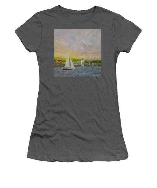 Sailing By Ram Island Women's T-Shirt (Athletic Fit)