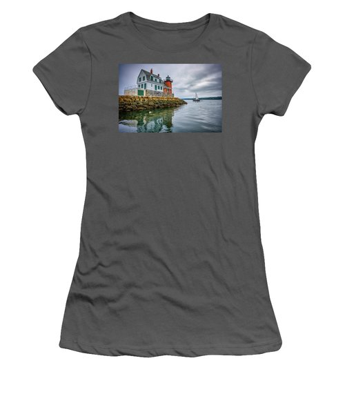 Women's T-Shirt (Athletic Fit) featuring the photograph Sailing Past The Breakwater by Rick Berk