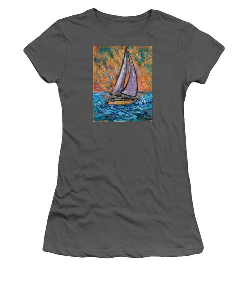 Women's T-Shirt (Athletic Fit) featuring the painting Sails Up by Xueling Zou